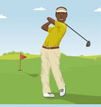 african american male golf player hitting the ball vector image vector image