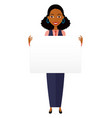 african business woman holding sign or banner vector image vector image