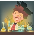 Bushy haired mad professor in lab coat vector image vector image