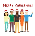 Business team people Christmas greeting card vector image vector image