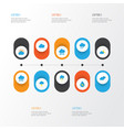 climate flat icons set collection of rain shower vector image vector image
