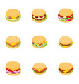 club sandwich icons set cartoon style vector image vector image