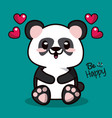 color background with kawaii animal bear panda and vector image