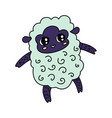coloured sheep line icon vector image vector image