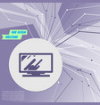 computer monitor icon on purple abstract modern vector image vector image