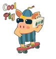 Cool Pig Sunglasses Skateboard Tape Recorder vector image vector image