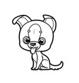 cute cartoon little puppy outline for coloring vector image vector image