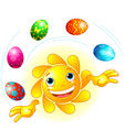 cute Easter sun juggling vector image vector image