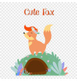 cute fox in flower wreath stand on foxy burrow vector image