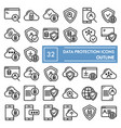data protection line icon set computer safety vector image vector image