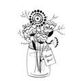 doodle flowers bouquet vector image