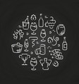 drinks line icons - wine logo on chalkboard vector image vector image
