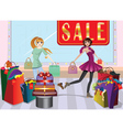 Fashion Girls at Shopping vector image
