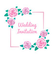floral wedding invitation design roses blossom vector image