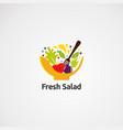 fresh salad logo icon element and template for vector image vector image