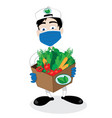 friendly courier delivering veggies during covid19 vector image vector image