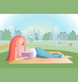 girl reading book in city park vector image