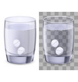 glass of water and pills on white vector image vector image