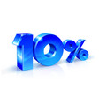 glossy blue 10 ten percent off sale isolated on vector image vector image