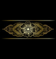 gold indian line art border vector image vector image