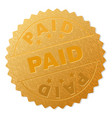 gold paid medallion stamp vector image vector image