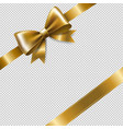 golden ribbon bow vector image vector image