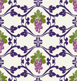 grapes pattern Grape Vines Seamless Background vector image