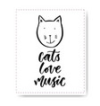 hand drawn lettering with cute cat cats love vector image vector image