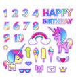 Happy birthday stickers set with digits love and