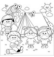 happy children playing in a forest camping site vector image