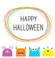 happy halloween colorful monster silhouette head vector image vector image