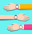 human hands with watches flat design vector image vector image