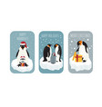 imperial penguin on the ice floe sticker icon set vector image vector image