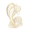 king cobra with hood and crown golden vector image