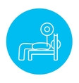 Man lying on bench and lifting barbell line icon vector image