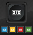Money dollar icon symbol Set of five colorful vector image