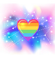 rainbow heart symbol lgbt community gay pride vector image