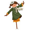 Scarecrow dressed in woman clothes vector image vector image