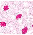seamless pattern as white rose flowers and leaves vector image vector image