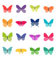 set color butterflies on white background vector image