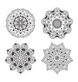 set ethnic fractal mandala tattoo design looks vector image