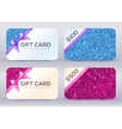 Set of blue and pink glitter gift cards templates vector image vector image