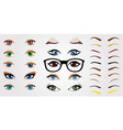set of realistic human eyes eyebrows and glasses vector image