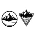 set with mountain labels triangle and circle vector image