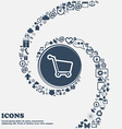Shopping cart icon sign in the center Around the vector image vector image