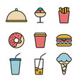 simple set food icons in trendy line style vector image vector image
