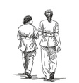 sketch two walking women in official clothing hand vector image vector image