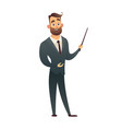 standing business man teacher pointing with vector image