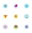 Structure of body icons set pop-art style vector image vector image