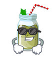 super cool juice smoothies green in cartoon table vector image vector image